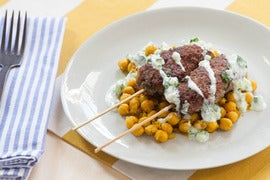 Lamb Kofte Kebabs with Sautéed Chickpeas & Cucumber Yogurt Sauce