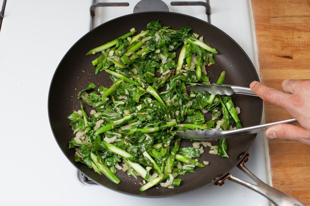 Cook the chard & asparagus: