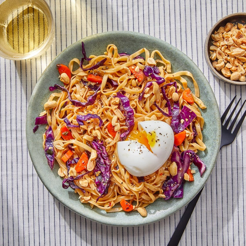 Soy-Glazed Wonton Noodles with Red Cabbage & Soft-Boiled Eggs