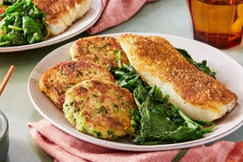 Spiced Cod & Summer Squash Cakes with Dates & Baby Greens