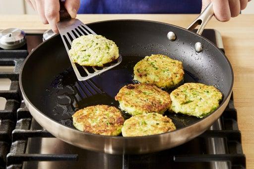 Cook the squash cakes: