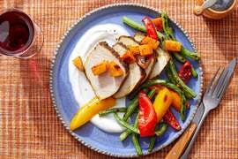 Middle Eastern Pork & Persimmon with Lemon Yogurt