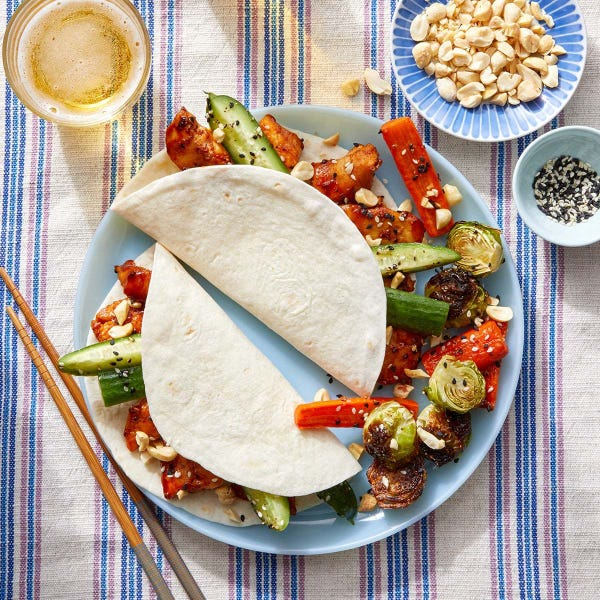 Korean Chicken Tacos with Marinated Cucumbers & Roasted Vegetables
