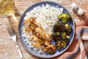Miso-Ginger Chicken with Sesame Rice & Roasted Broccoli