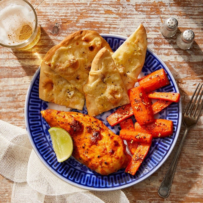 Indian-Style Chicken & Cheesy Naan with Roasted Carrots & Pickled Mustard Seeds