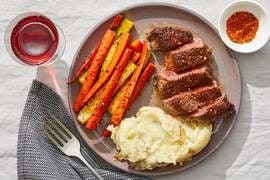 Seared Steaks & Soy Glaze with Mashed Potatoes & Togarashi Vegetables