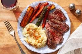 Seared Steaks & Soy Glaze with Mashed Potatoes & Togarashi Vegetables