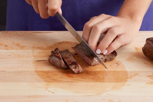 Slice the steaks & serve your dish: