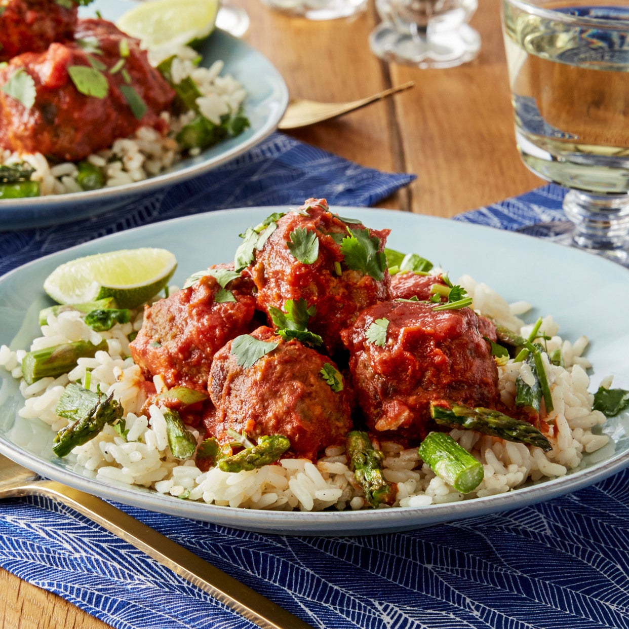 Meatballs & Tomato Sauce with Asparagus & Creamy Rice