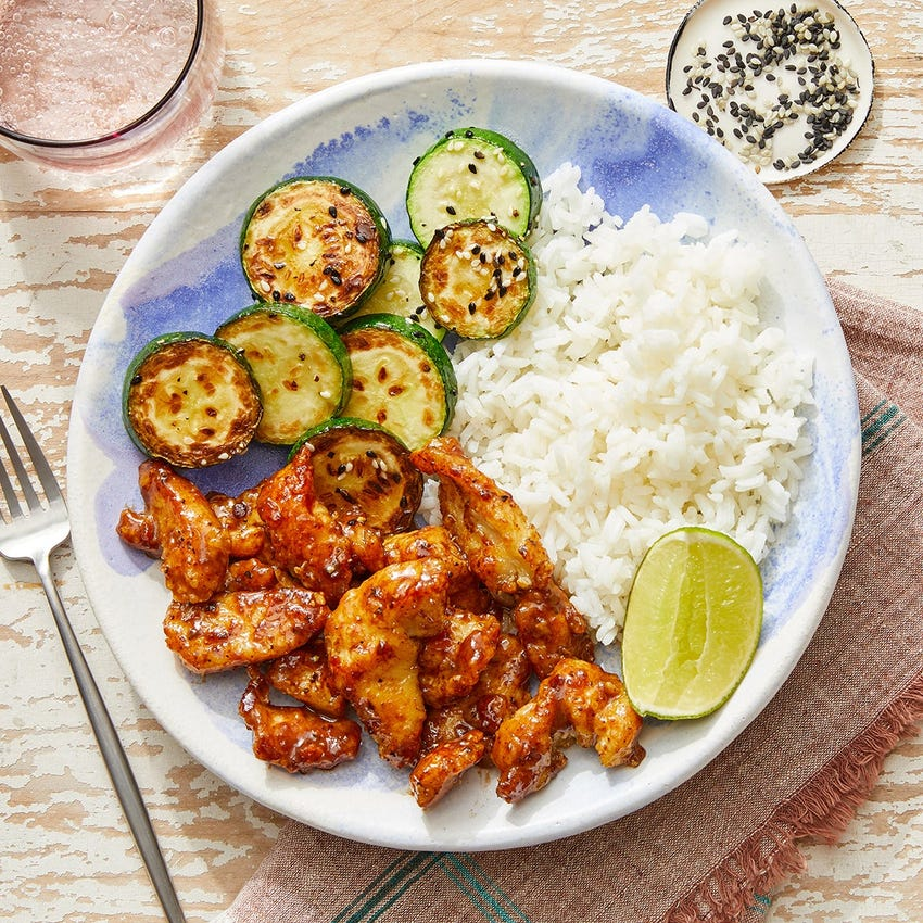 Crispy Cumin-Sichuan Chicken with Sesame Zucchini & Lime Rice