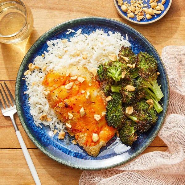 Sweet Chili-Saffron Cod with Garlic Rice & Roasted Broccoli
