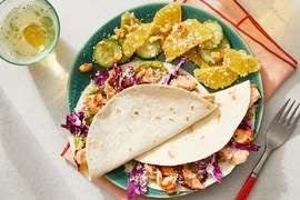 Spicy Chipotle Salmon Tacos with Orange, Cucumber & Peanut Salad