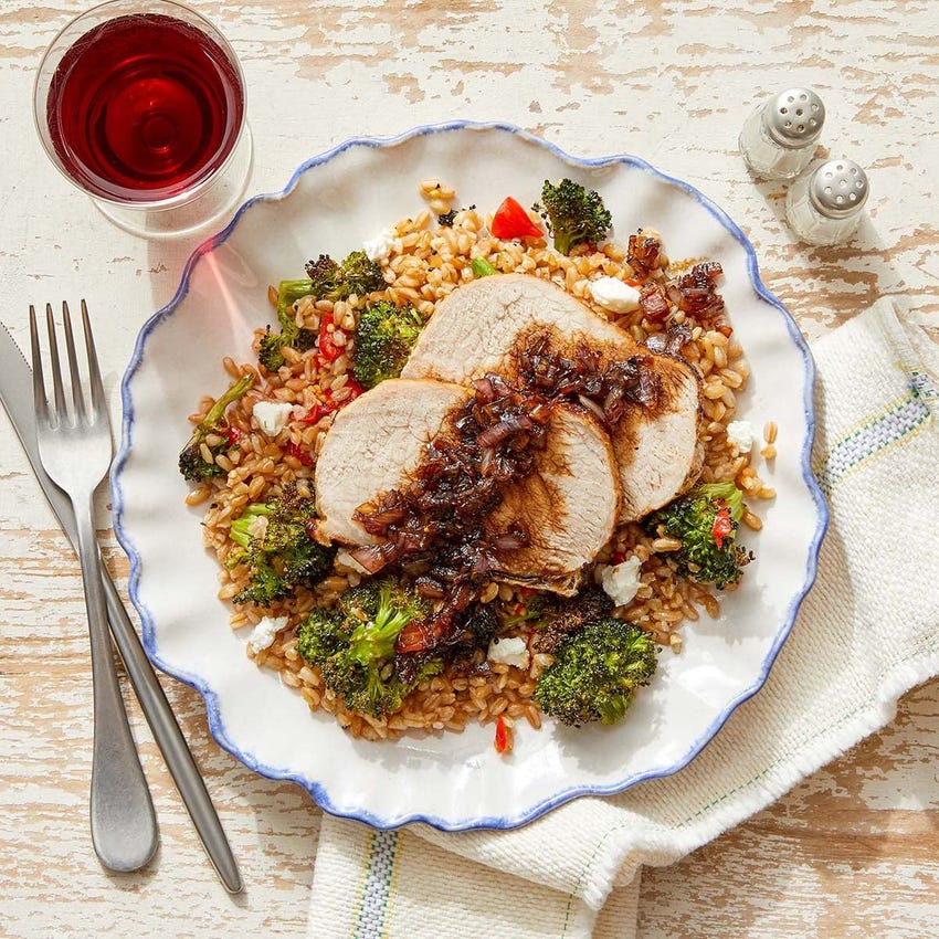 Pork Roast & Balsamic-Shallot Pan Sauce with Roasted Broccoli & Farro