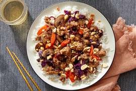 Tamarind Pork & Vegetable Stir-Fry with Jasmine Rice & Peanuts