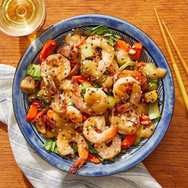 Miso-Butter Shrimp with Stir-Fried Vegetables