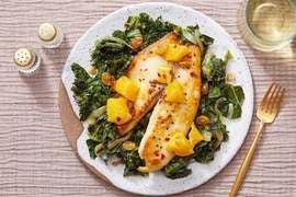 Orange-Glazed Tilapia with Cilantro Kale & Collard Greens