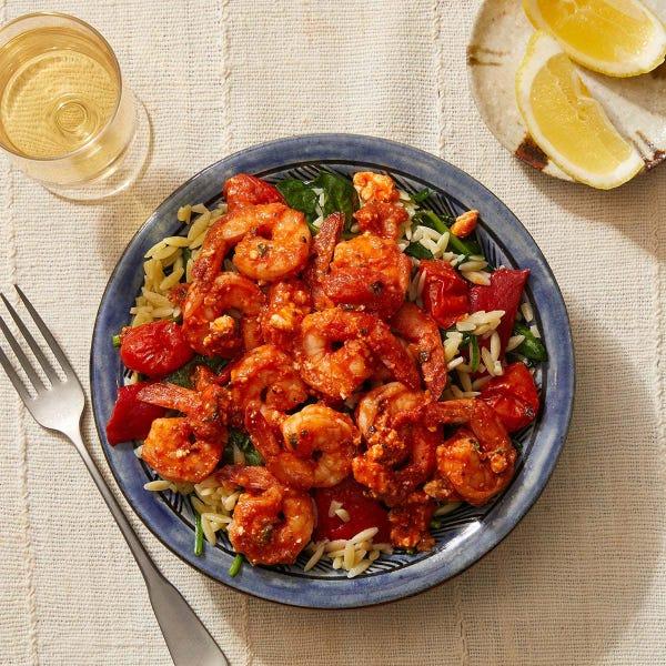 Shrimp & Orzo Pasta with Tomatoes & Feta