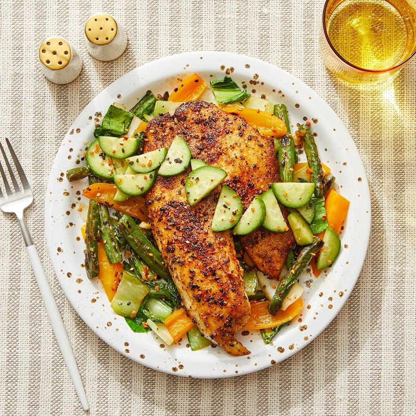 Togarashi Tilapia & Marinated Cucumber with Miso Stir-Fried Vegetables