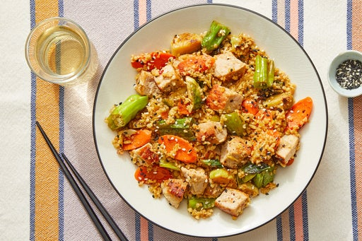 Pork & Freekeh Stir-Fry with Brussels Sprouts, Carrots & Shishito Peppers