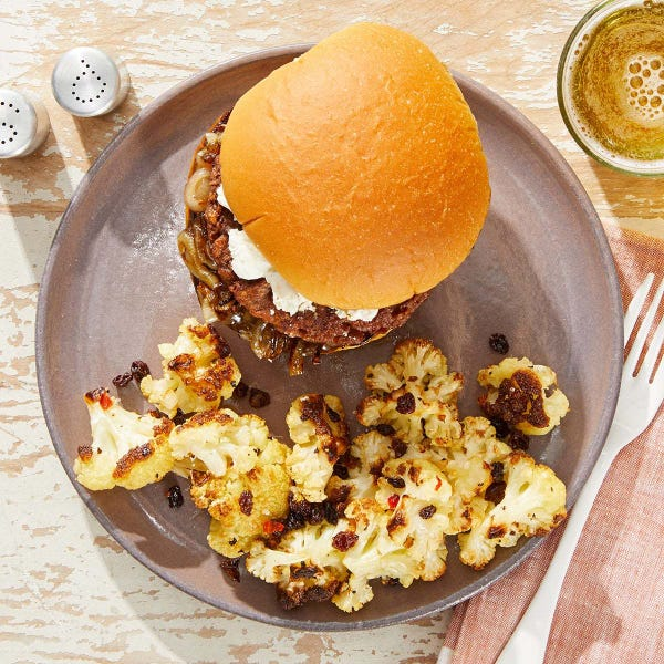 Fig & Goat Cheese Beyond Burger™ with Roasted Cauliflower & Spicy Lemon Dressing