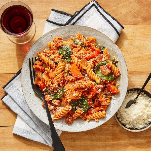 Chickpea Pasta & Turkey Bolognese with Spinach & Parmesan Cheese