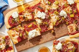 Shishito Pepper Pizza with Garlic Ricotta & Mozzarella