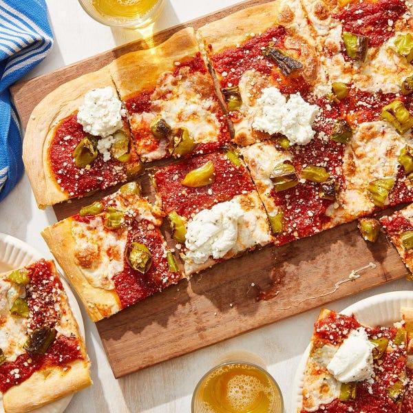 Shishito Pepper Pizza with Garlic Ricotta & Mozzarella