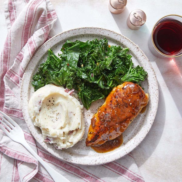 Chicken & Fig-Butter Pan Sauce with Garlic Mashed Potatoes & Sautéed Kale