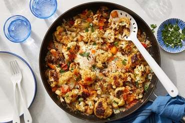 Roasted Cauliflower & Egg Skillet with Hot Sauce & Cheddar Cheese