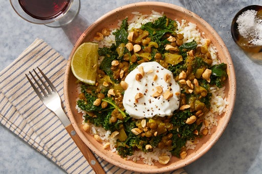 Coconut Curry Lentils & Kale with Lime Rice & Peanuts