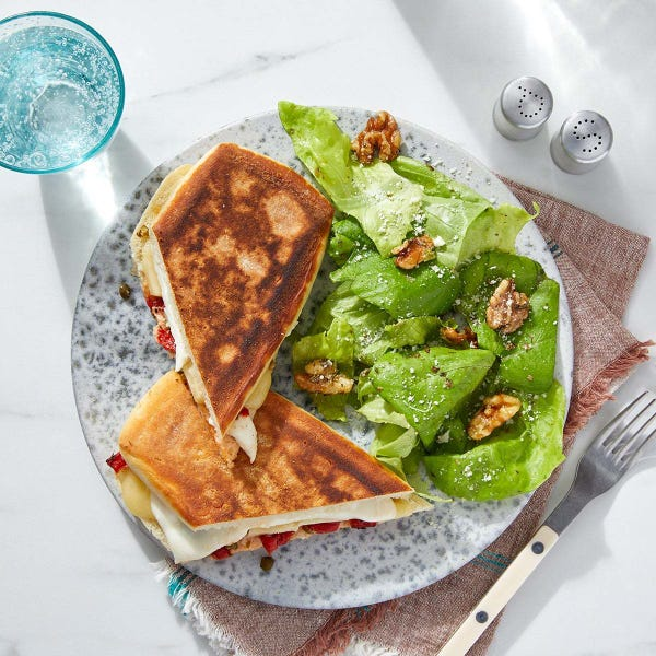 Mozzarella & Fontina Paninis with Capers & Roasted Red Peppers