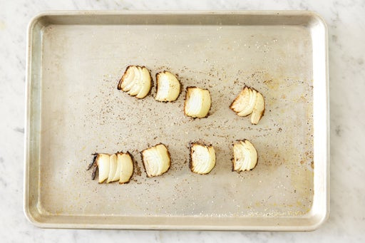 Prepare & roast the onion: