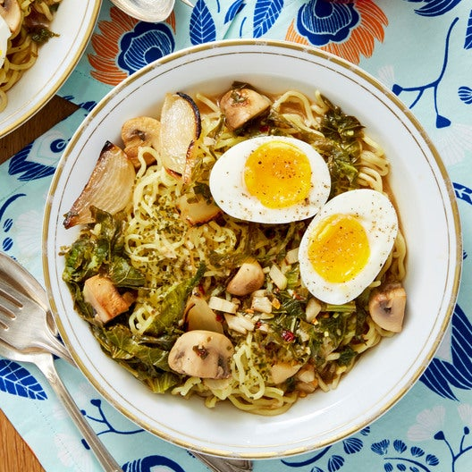 Roasted Onion Miso Ramen with Mustard Greens & Soft-Boiled Eggs