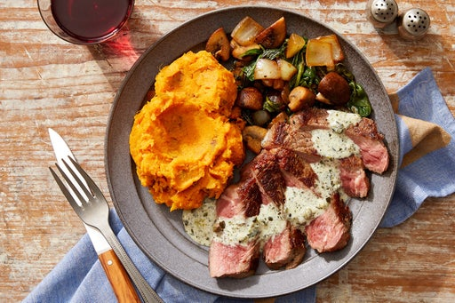 Seared Steaks & Creamy Salsa Verde with Mashed Sweet Potatoes & Vegetable Sauté