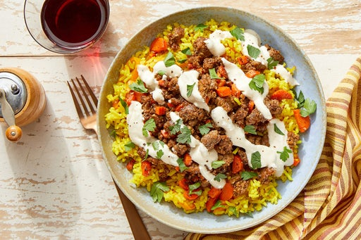Za'atar Beef & Curry-Sweet Pepper Rice with Tahini Yogurt & Parsley