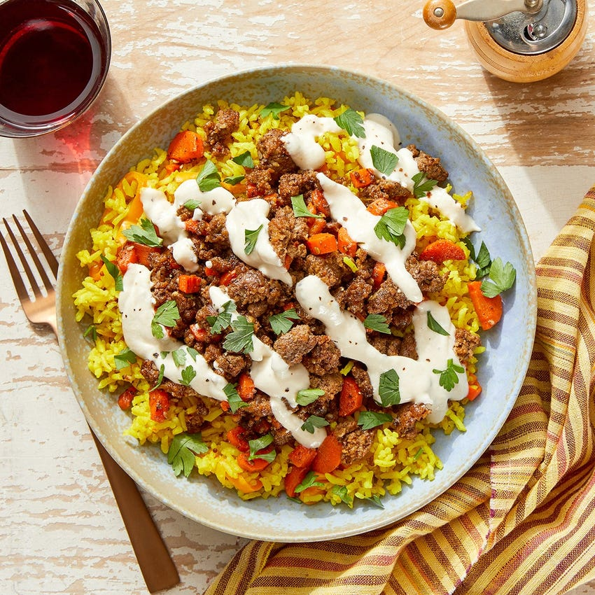 Za'atar Beef & Curry-Sweet Pepper Rice with Tahini Yogurt & Parsley
