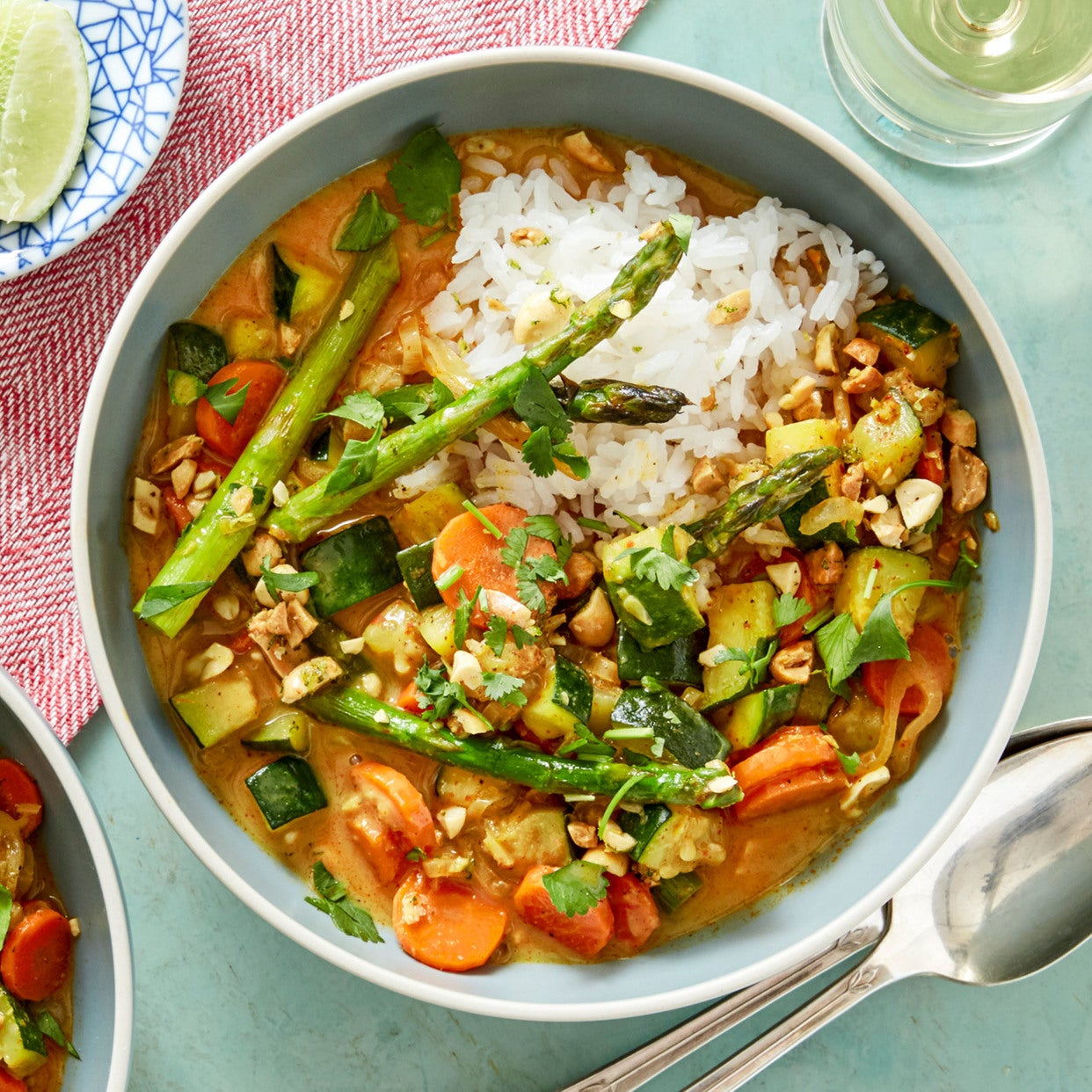 Asparagus & Summer Squash Curry with Ginger-Lime Peanuts