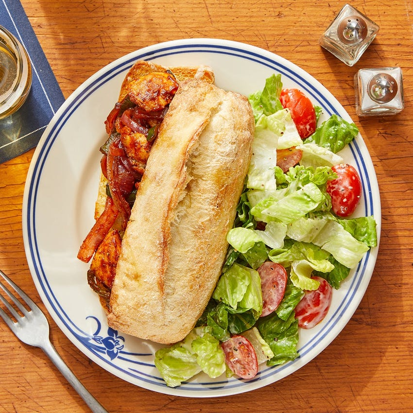 Spicy BBQ Chicken Sandwiches with Poblano, Onion & White Cheddar