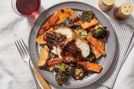 Pork Roast & Fig Pan Sauce with Roasted Sweet Potatoes, Carrots & Broccoli