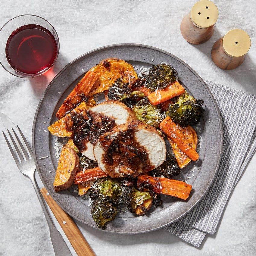Pork Roast & Fig Pan Sauce with Roasted Sweet Potatoes, Carrots & Broccoli