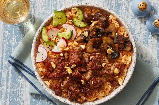 Hoisin Pork & Mushroom Rice Bowls with Marinated Cucumbers & Radishes