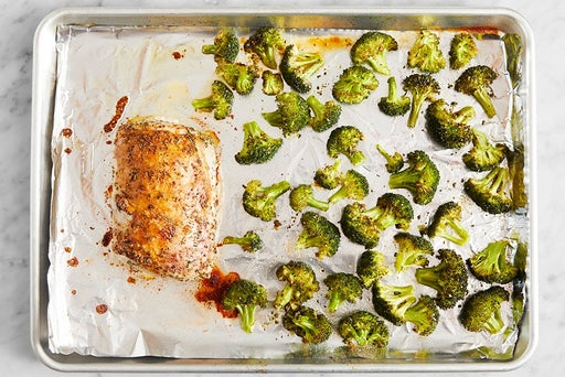 Roast the broccoli & finish the pork: