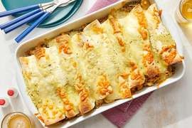 Cheesy Tomatillo Enchiladas with Chayote Squash, Spinach & White Beans