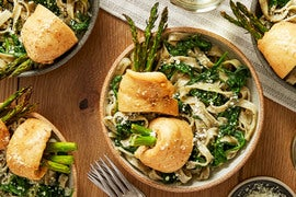 Chicken & Asparagus Rollatini with Fresh Basil Fettuccine