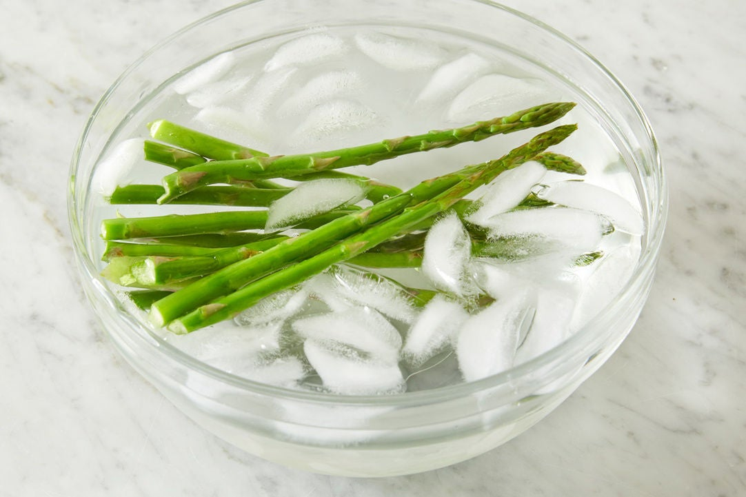 Blanch & shock the asparagus: