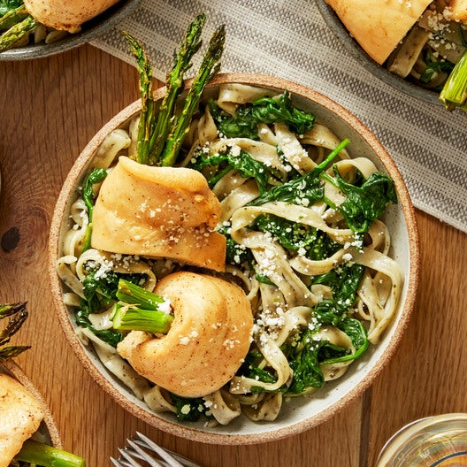 Chicken & Asparagus Rollatini with Fresh Basil Fettuccine