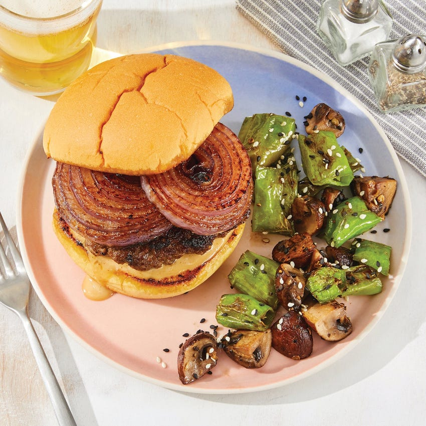 Miso-Ponzu Burgers with Sesame Shishitos & Mushrooms
