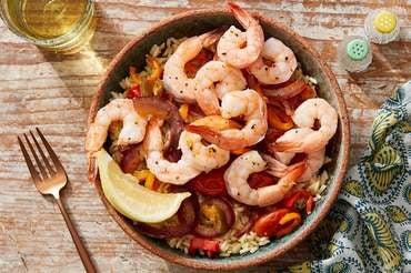 Veracruz-Style Shrimp & Vegetables with Brown Rice