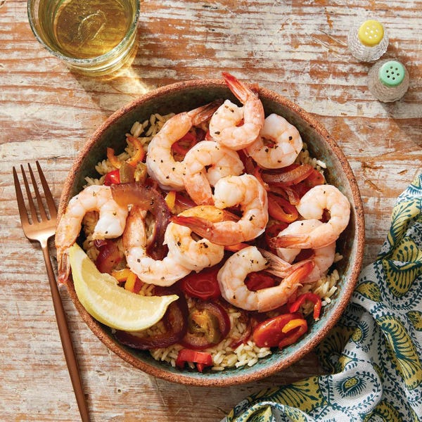 Veracruz-Style Shrimp & Vegetables with Brown Rice