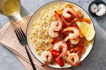Veracruz-Style Shrimp with Vegetables & Brown Rice
